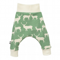 Baby harem pants, Relaxed Unisex Organic trousers in Green Elks, new baby gift