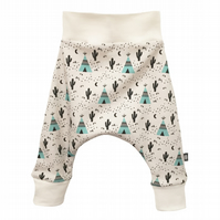 baby trousers, Organic harem pants in teepees & cactus print, harem trousers