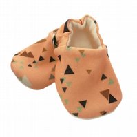 ORGANIC Multi TRIANGLES ON CORAL Kids Slippers Pram Shoes BABY GIFT IDEA 0-9Y