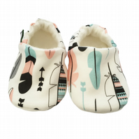 ORGANIC PASTEL FEATHERS Kids Slippers Pram Shoes NEW BABY GIFT IDEA 0-9Y