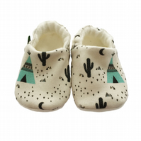 BABY Pram Shoes Kids Slippers ORGANIC Geometric TEPEES & CACTUS GIFT IDEA 0-9Y