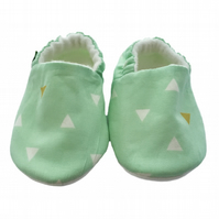 BELLAOSKI Gold TRIANGLES on Mint BABY SLIPPERS Pram Shoes GIFT IDEA 0-18M