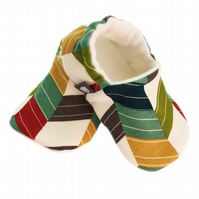 ORGANIC Birch OFFSET CHEVRONS MULTI Slippers Pram Shoes NEW BABY GIFT IDEA 0-18M