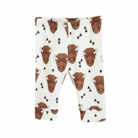 Baby leggings, Organic leggings, Brown BULLS, BISON, unisex, new baby gift