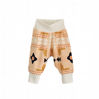 baby trousers, Organic cuff pants in PEACHY GEOMETRICS print, relaxed trousers