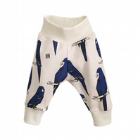 baby trousers, Organic cuff pants in BLUE PARROTS print, relaxed trousers