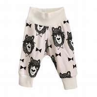 baby trousers, Organic cuff pants in BOW TIE BEARS print, relaxed trousers