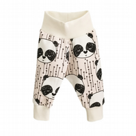 baby trousers, Organic cuff pants in PANDA BEARS print, relaxed trousers