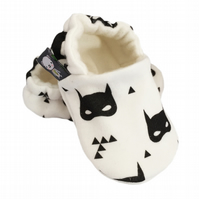 BABY SHOES Organic Monochrome SUPERHERO Soft soled Kids Slippers GIFT IDEA 0-9Y