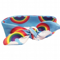 ORGANIC Baby Knotted Headband in RAINBOWS ON BLUE - A Modern Baby Gift Idea