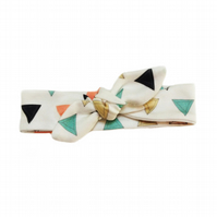 ORGANIC Baby Knotted Headband in PRISM TRIANGLES - A Modern Baby Eco Gift Idea