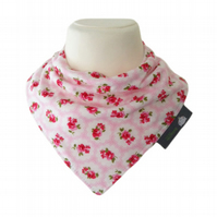 BellaOski BANDANA DRIBBLE BIB Pretty Pink Flowers Fabric BABY GIFT IDEA