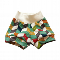 ORGANIC Baby CUFF SHORTS Relaxed OFFSET CHEVRONS - A GIFT IDEA from BellaOski