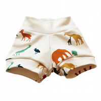 Baby Shorts, ORGANIC Baby CUFF SHORTS Relaxed SERENGETI ANIMALS - A GIFT IDEA