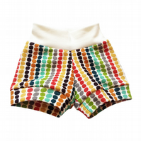 Baby Shorts, ORGANIC Baby Easy to wear CUFF SHORTS in PEBBLE STRIPE Gift Idea