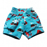 Baby Relaxed CUFF SHORTS in  Blue PIRATES - A Gift Idea from BellaOski