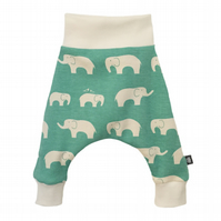 ORGANIC Baby HAREM PANTS Green ELLIE ELEPHANTS Trousers Size 3-6 Months ONLY