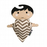 ORGANIC Baby Bandana Dribble Bib in CHEVRON SHROOM -ECO GIFT IDEA from BellaOski