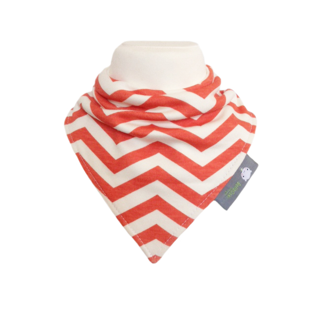 ORGANIC Baby Bandana Dribble Bib in CHEVRONS CORAL RED Gift idea from BellaOski