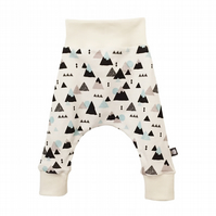 Baby HAREM PANTS in MOUNTAINS - Organic Relaxed Trousers - A Gift Idea