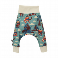 Baby HAREM PANTS in blue VIKINGS - Organic Relaxed Trousers - Size 0-3 Months