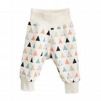 baby trousers, Organic cuff pants in PRISM TRIANGLES print, relaxed trousers