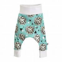 Baby HAREM PANTS in blue LIONS - Organic Relaxed Trousers - A Gift Idea