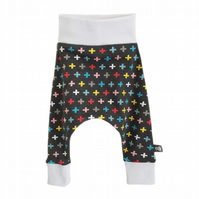 Baby trousers, baby pants, HAREM PANTS, Trousers, Grey, MINI CROSSES, Gift Idea