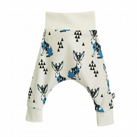 ORGANIC Baby HAREM PANTS blue JACKALOPES Trousers GIFT IDEA by BellaOski