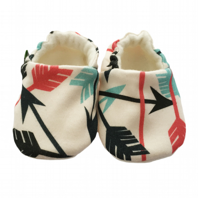 Baby Shoes Coral & Mint ARROWS Organic Slippers Pram Shoes BABY GIFT IDEA 0-24M