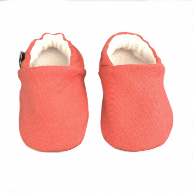 Baby Shoes Plain CORAL RED Organic Kids Slippers Pram Shoes BABY GIFT IDEA 0-9Y