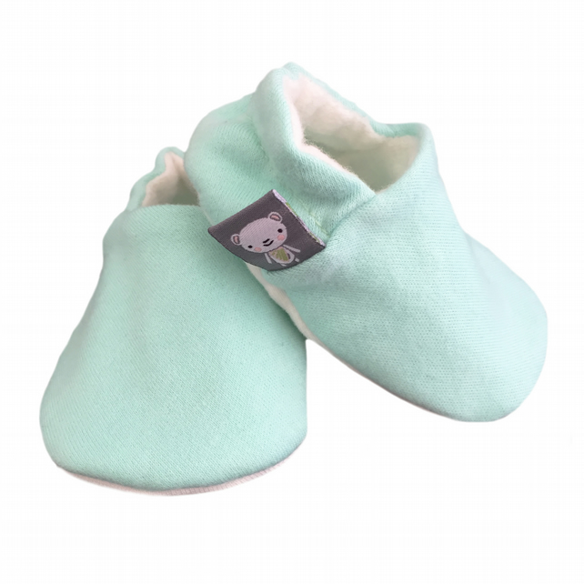 Baby Shoes Plain MINT GREEN Organic Kids Slippers Pram Shoes BABY GIFT IDEA 0-9Y