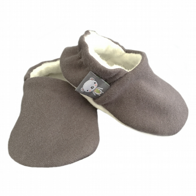 Baby Shoes Plain BROWN-GREY Organic Slippers Pram Shoes - Baby GIFT IDEA 0-18M