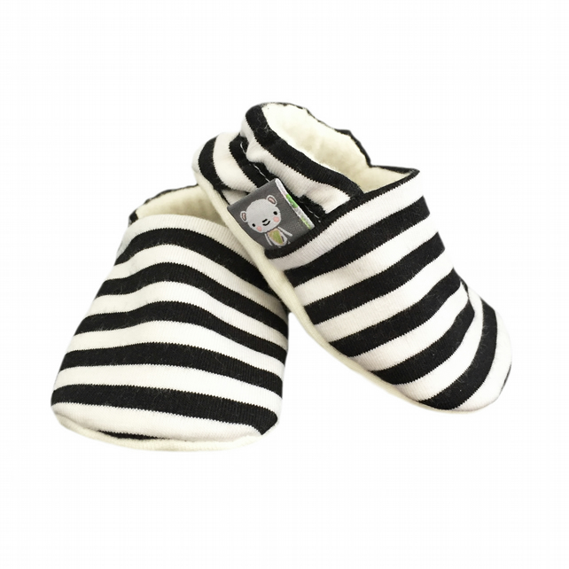 Baby Shoes Navy Blue & White STRIPED Slippers Pram Shoes - BABY GIFT IDEA 0-18M