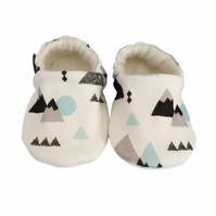 Baby Shoes grey & blue MOUNTAINS Organic Kids Slippers Pram Shoes GIFT IDEA 0-9Y