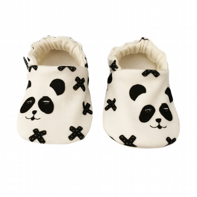 Baby Shoes Black PANDA CROSSES Organic Kids Slippers Pram Shoes - GIFT IDEA 0-9Y