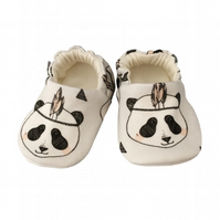 Baby Shoes Grey FEATHER PANDAS Organic Slippers Pram Shoes - GIFT IDEA 0-24M