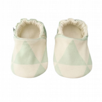 Baby Shoes Mint Green TRIANGLES Organic Kids Slippers Pram Shoes GIFT IDEA 0-9Y