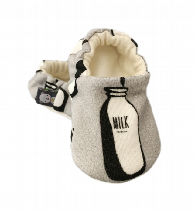 Baby Shoes Grey MILK BOTTLE Organic Kids Slippers Pram Shoes - GIFT IDEA 0-9Y