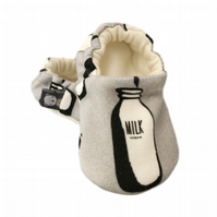 Baby Shoes Grey MILK BOTTLE Organic Slippers Pram Shoes - GIFT IDEA 0-24M
