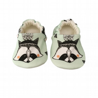 Baby Shoes Mint RACCOONS Organic Kids Slippers Pram Shoes - GIFT IDEA 0-9Y