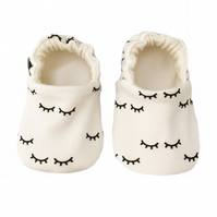 Baby Shoes Black SLEEPY EYES Organic Kids Slippers Pram Shoes - GIFT IDEA 0-9Y