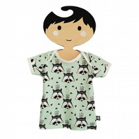 Baby Short Sleeve T-Shirt in mint RACCOONS Organic Top - A BABY GIFT IDEA