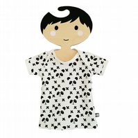 Baby tees, tops, Short Sleeve T-Shirt in PANDAS & CROSSES Organic Top GIFT IDEA