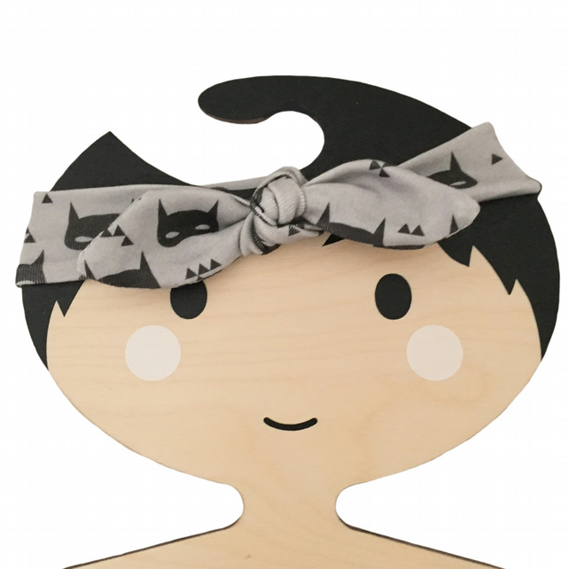Baby Knotted Headband in ORGANIC Grey SUPERHERO MASKS - A Modern Baby Gift Idea