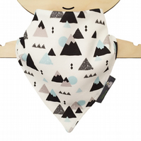 ORGANIC Baby Bandana Dribble Bib in Grey & Blue MOUNTAINS - Gift Idea
