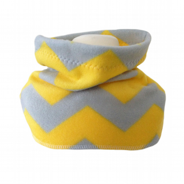 Handmade Yellow Grey CHEVRONS Fleece NECK WARMER DUDE SNOOD Kids SCARF