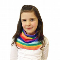 Handmade RAINBOW Fleece GIRL'S NECK WARMER DUDE SNOOD Kids SCARF