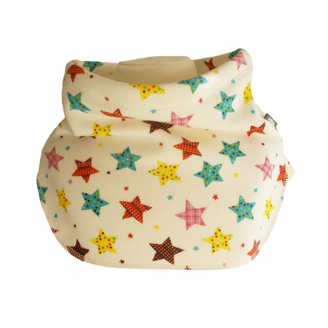 Handmade MULTI STARS Jersey Plush GIRL'S NECK WARMER DUDE SNOOD Kids SCARF