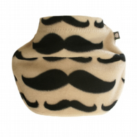 Handmade MOUSTACHES Fleece NECK WARMER DUDE SNOOD Kids SCARF